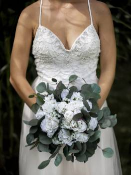 Beaded Wedding Dress With White Bouquet #422497