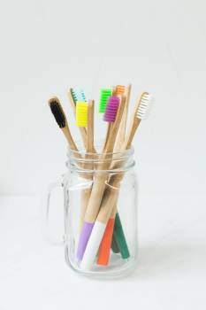 Multi-colored Toothbrushes In Glass #422616
