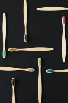 Bamboo Brushes On Black #422620