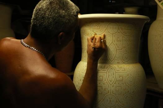 Ceramics pottery man artist #42332