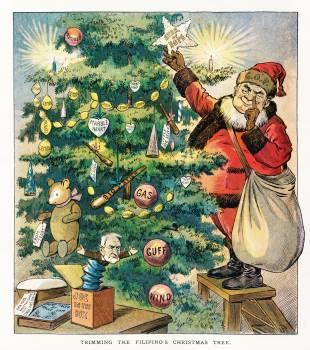 Trimming the Filipino's Christmas Tree (1906) by J. Ottman Lithographic Company. Original from Library of Congress.  #423472
