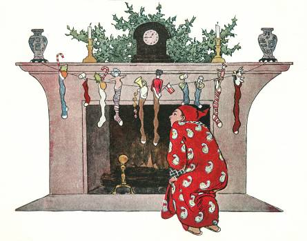And Giving a Nod, Up the Chimney He Rose by Jessie Wilcox Smith (1863–1935). Original from The New York Public Library.  Free Photo