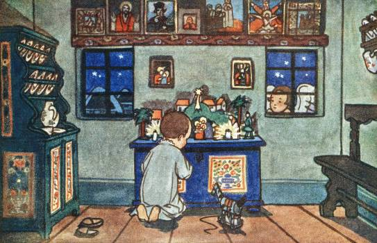 Boy Playing with Christmas Toys by Zdenek Guth. Original from The New York Public Library.  #423502