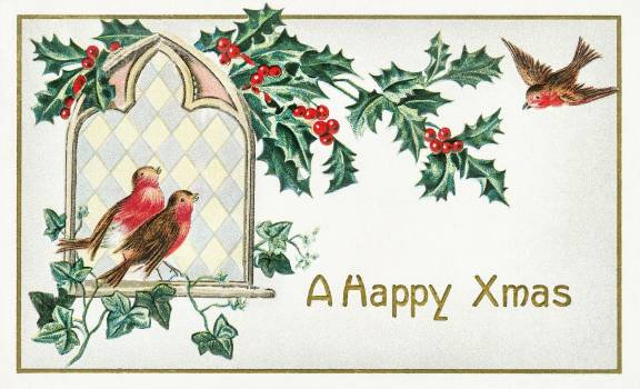 A Happy Xmas Postcard (1912) by J. Herman. Original from The New York Public Library.  Free Photo