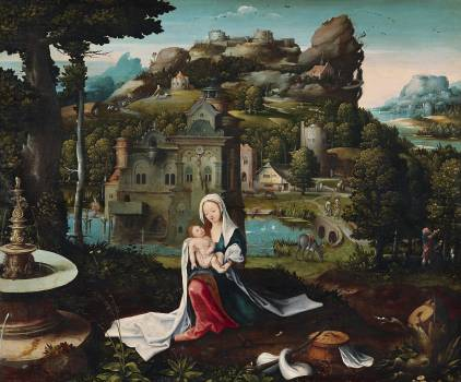 The Rest on the Flight into Egypt (mid–16th century) by Netherlandish (Antwerp Mannerist) Painter. Original from The MET Museum.  Free Photo