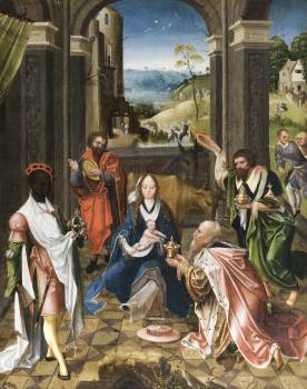 The Adoration of the Magi (ca. 1520) by Netherlandish (Antwerp Mannerist) Painter. Original from The MET Museum.  Free Photo