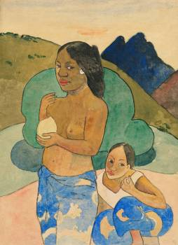 Two Tahitian Women in a Landscape (ca. 1892) by Paul Gauguin. Original from The Art Institute of Chicago.  Free Photo