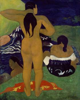 Tahitian Women Bathing (1892) by Paul Gauguin. Original from The MET Museum.  #424015