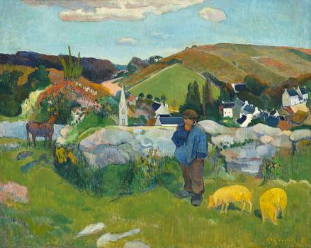 The Swineherd (1888) by Paul Gauguin. Original from the Los Angeles County Museum of Art.  Free Photo