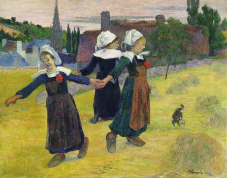 Breton Girls Dancing, Pont-Aven (1888) by Paul Gauguin. Original from The National Gallery of Art.  #424030