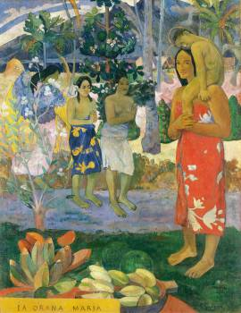 Hail Mary (Ia Orana Maria) (1891) by Paul Gauguin. Original from The MET Museum.  #424037