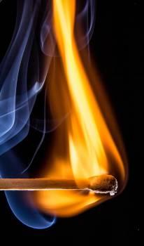 Match Stick Give Orange Fire With a White Smoe #42433