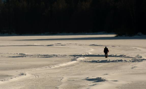 Lonely Man Walks Away on Frozen Lake - Free Image For Commercial Use #425082
