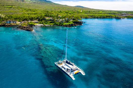 Overhead View Of Sailboat Anchored On Coral Reef #425165