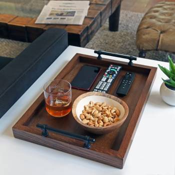 Wooden Tray On Side Table In Living Room #425167
