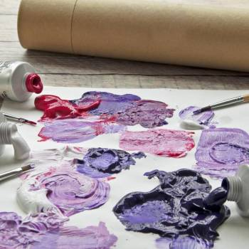 Blobs Of Purple, Red And White Paint Mixed Together On Paper #425171