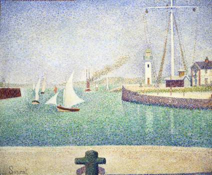 Entrance of The Port of Honfleur (Entrée du port d'Honfleur) (1886) by Georges Seurat. Original from Barnes Foundation.  #425600