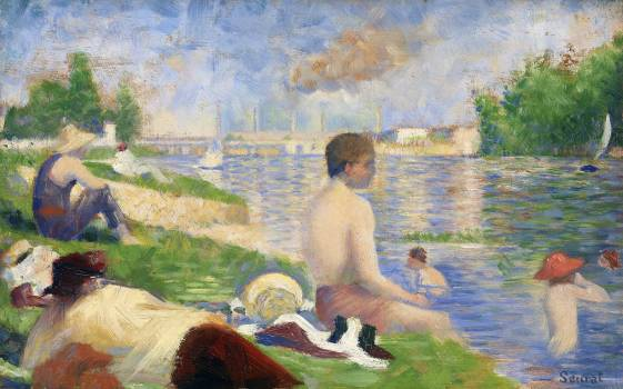 "Final Study for ""Bathers at Asnières"" (1883) by Georges Seurat. Original from The Art Institute of Chicago.  #425604"