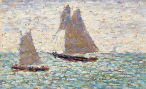 Two Sailboats at Grandcamp (Deux voiliers à Grandcamp) (ca. 1885) by Georges Seurat. Original from Barnes Foundation.  Free Photo
