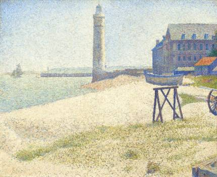 The Lighthouse at Honfleur (1886) by Georges Seurat. Original from The National Gallery of Art.  #425618