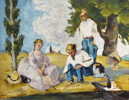 Picnic on a Riverbank (ca. 1873–74) by Paul Cézanne. Original from Yale University Art Gallery.  #426007