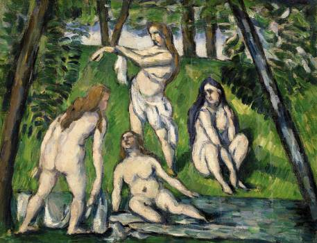 Four Bathers (Quatre baigneuses) (ca. 1876–1877) by Paul Cézanne. Original from Original from Barnes Foundation.  Free Photo