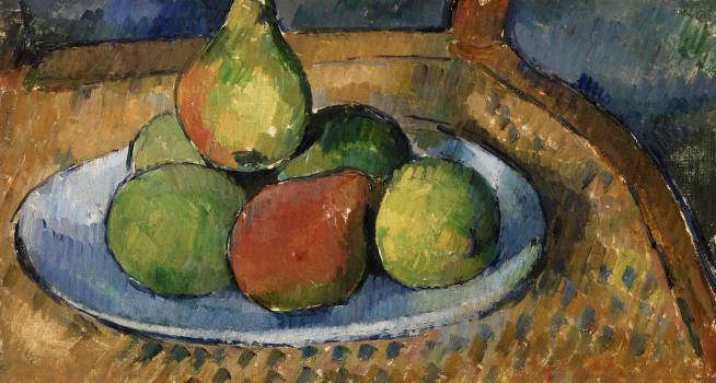 Plate of Fruit on a Chair (Assiette de fruits sur une chaise) (ca.1879–1880) by Paul Cézanne. Original from Original from Barnes Foundation.  Free Photo