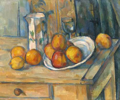 Still Life with Milk Jug and Fruit (ca. 1900) by Paul Cézanne. Original from The National Gallery of Art.  Free Photo