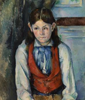 Boy in a Red Vest (Le Garçon au gilet rouge) (ca. 1888–1890) by Paul Cézanne. Original from Original from Barnes Foundation.  Free Photo