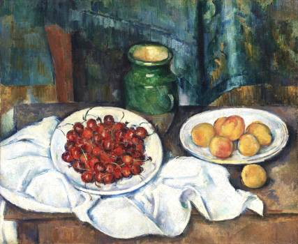 Still Life With Cherries And Peaches (ca. 1885–1887) by Paul Cézanne. Original from the Los Angeles County Museum of Art.  Free Photo