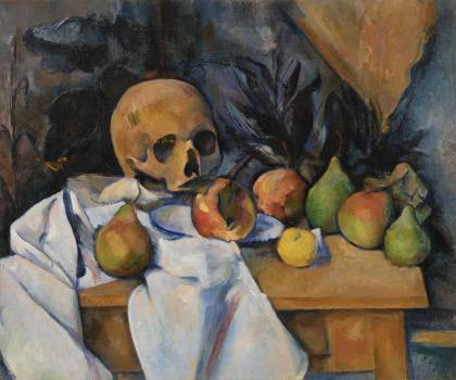 Still Life with Skull (Nature morte au crâne) (ca. 1896–1898) by Paul Cézanne. Original from Original from Barnes Foundation.  Free Photo