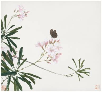 Insects and Flowers (Qing dynasty ca. 1644–1911) by Ju Lian. Original from The Getty.  #426048