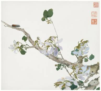 Insects and Flowers (Qing dynasty ca. 1644–1911) by Ju Lian. Original from The Getty.  #426049