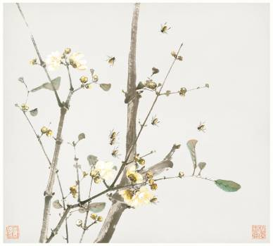 Insects and Flowers (Qing dynasty ca. 1644–1911) by Ju Lian. Original from The Getty.  #426053