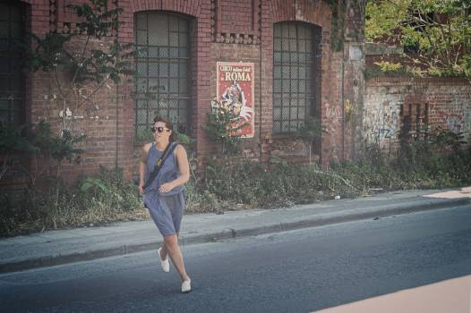Woman in Blue Tank Dress Running on Road #42622