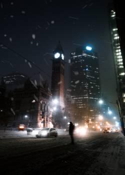 Business district Night City Free Photo