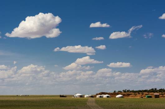 Yurts in the Mongolian Landscape - Free Image For Commercial Use Free Photo