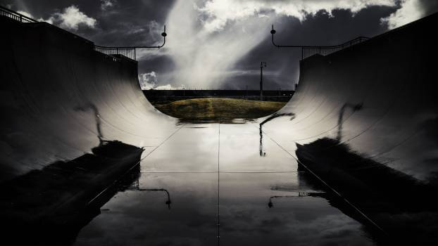 Skatepark halfpipe wet stormy Free Photo