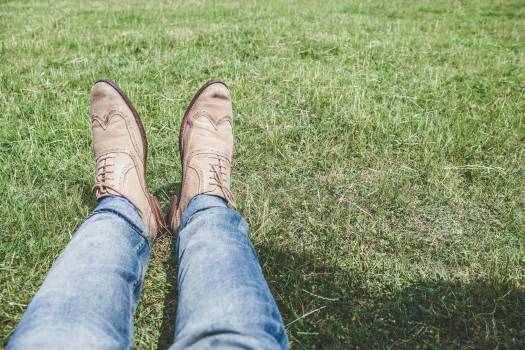 Person Wearing Blue Denim Jeans Sitting on Grass #43792