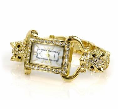 Gold Link Diamond Studded Analog Watch #43927