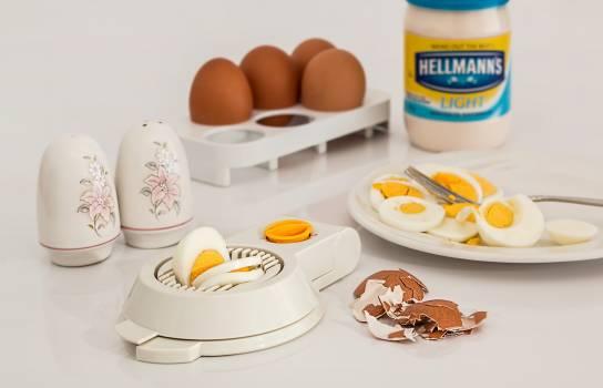 Hellmanks Glass Jar Beside White Egg Rack Free Photo
