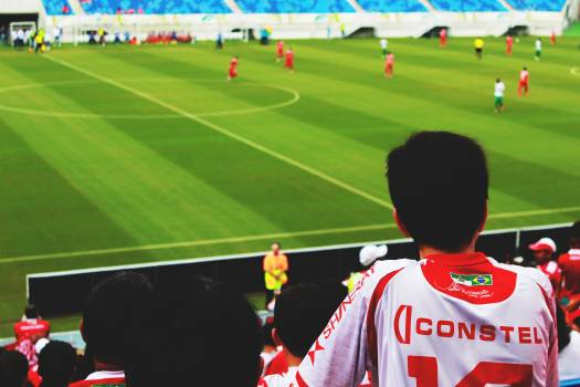 Man on White and Red Jersey Shirt Looking at Sport Game Free Photo