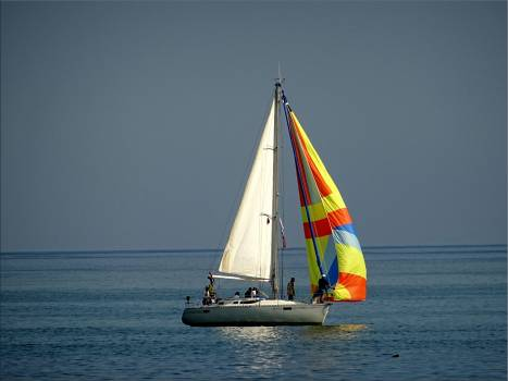 Gray and White Sail Boat With 5 Person Riding on the Middle of the Body of Water Free Photo