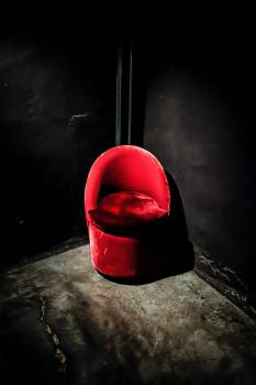 Red Suede Chair #44698