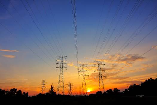 Dawn dusk power lines power transmissions #44758