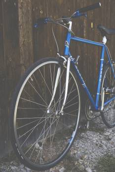 Blue City Bike Beside Brown Wooden Fence Free Photo