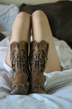 Woman Wearing Brown Leather Boots Free Photo