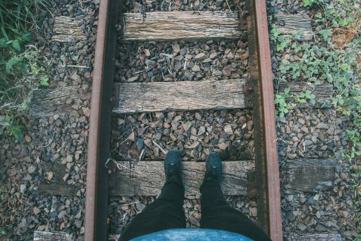 Person in Black Fitted Jeans and Sneakers Stepping on Wooden Trail Way #45445