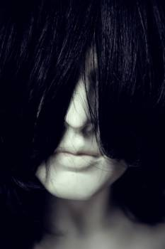 Woman Face Covered With Hair #45850