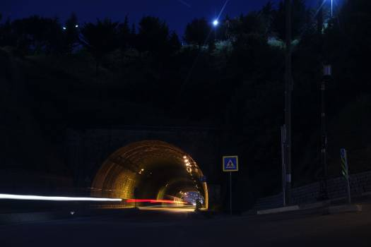 Time Laps Photography of Car Tunnel With Trees during Night Time #45988